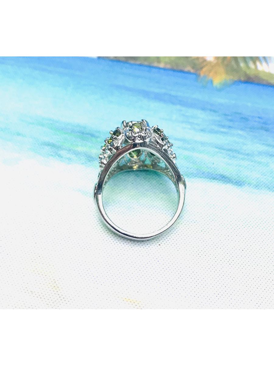 Green Statement Ring, Cubic zirconia Ring