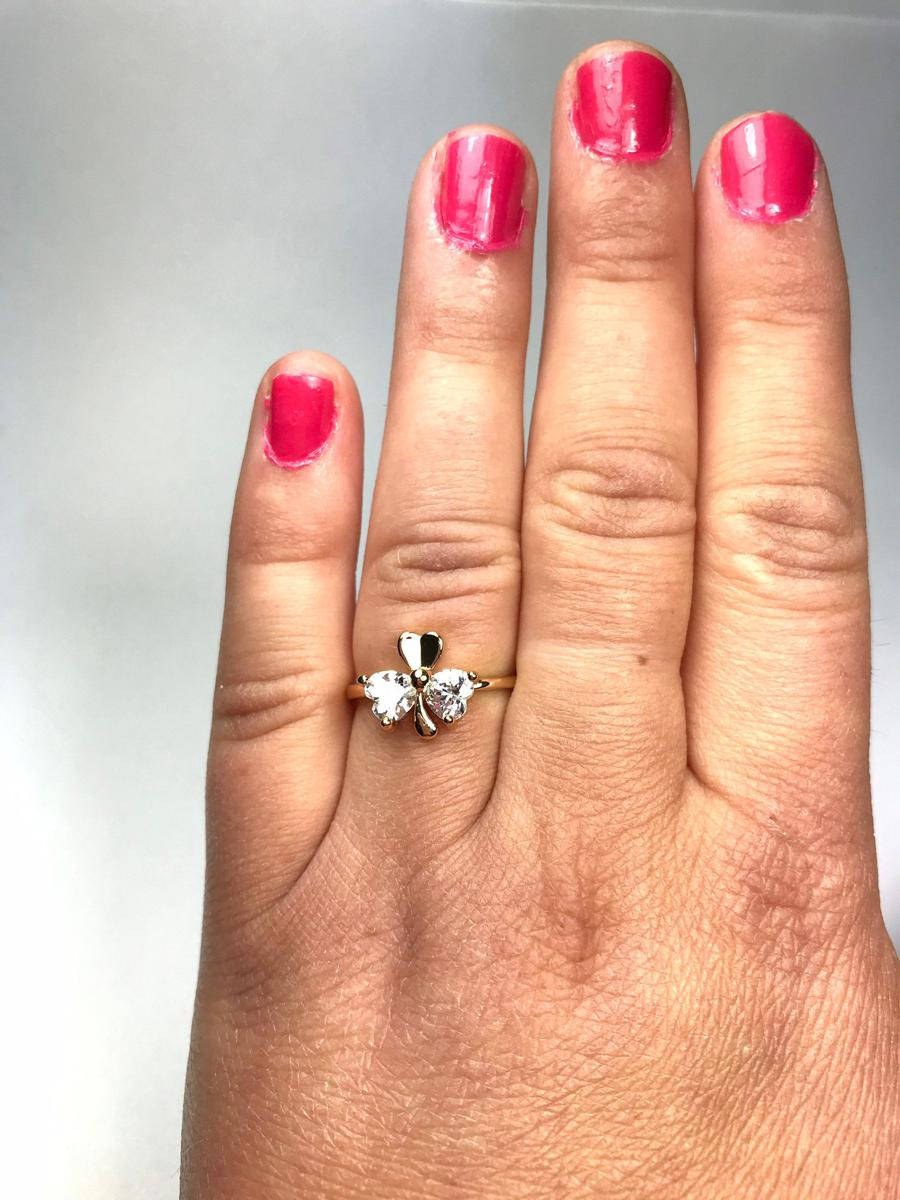 Size 6.75, Shamrock Cubic Zirconia Ring, Vintage Rings for