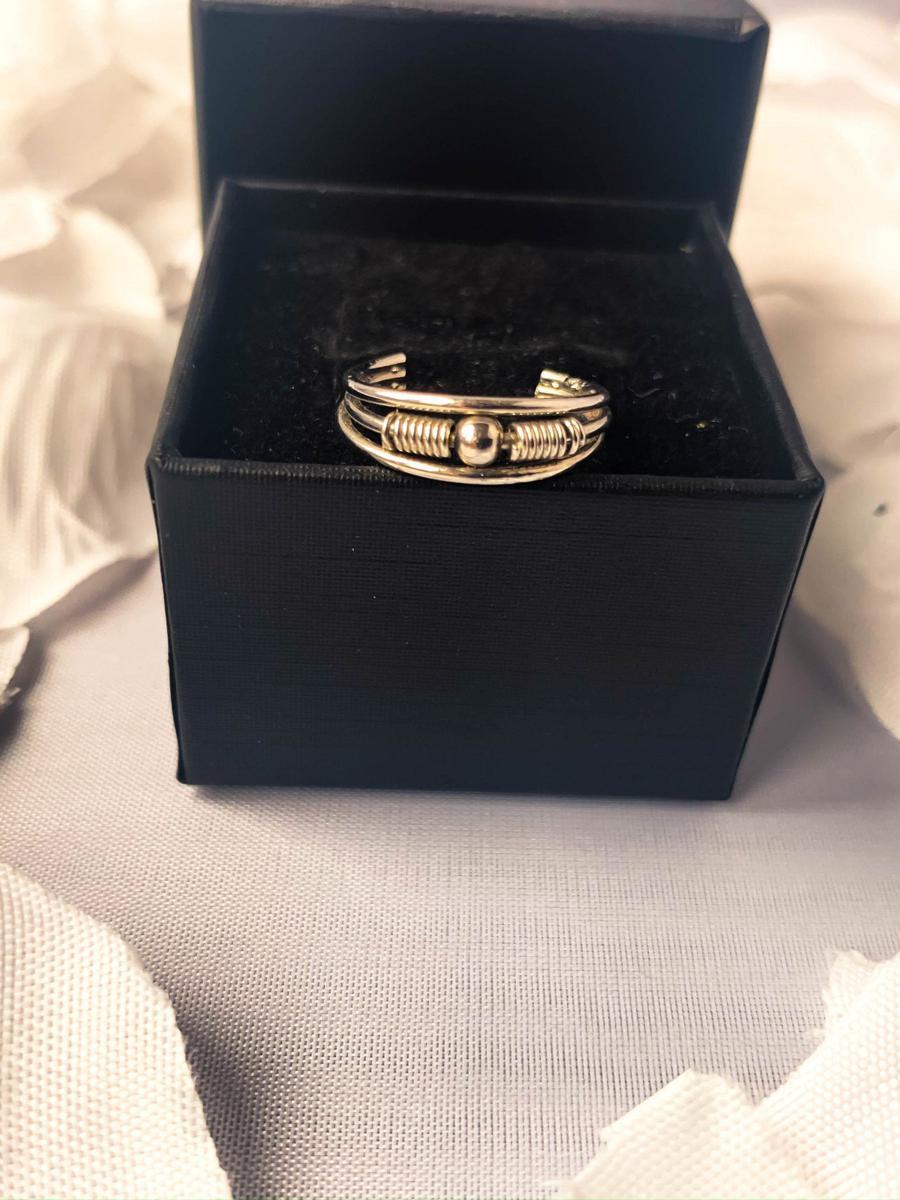 Vintage Silver Tone Engraved Band, Vintage Statement Ring, Art