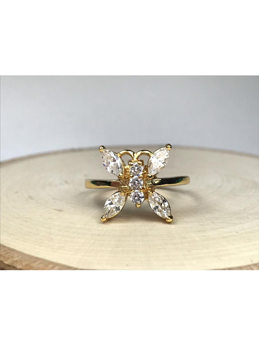 Size 8.5, Butterfly Cubic Zirconia Ring, Statement Ring for