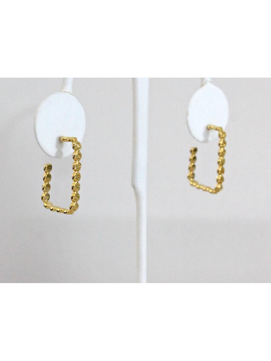 Gold Tone Rectangle Earrings, Vintage 1970s Rectangle Hoops Post