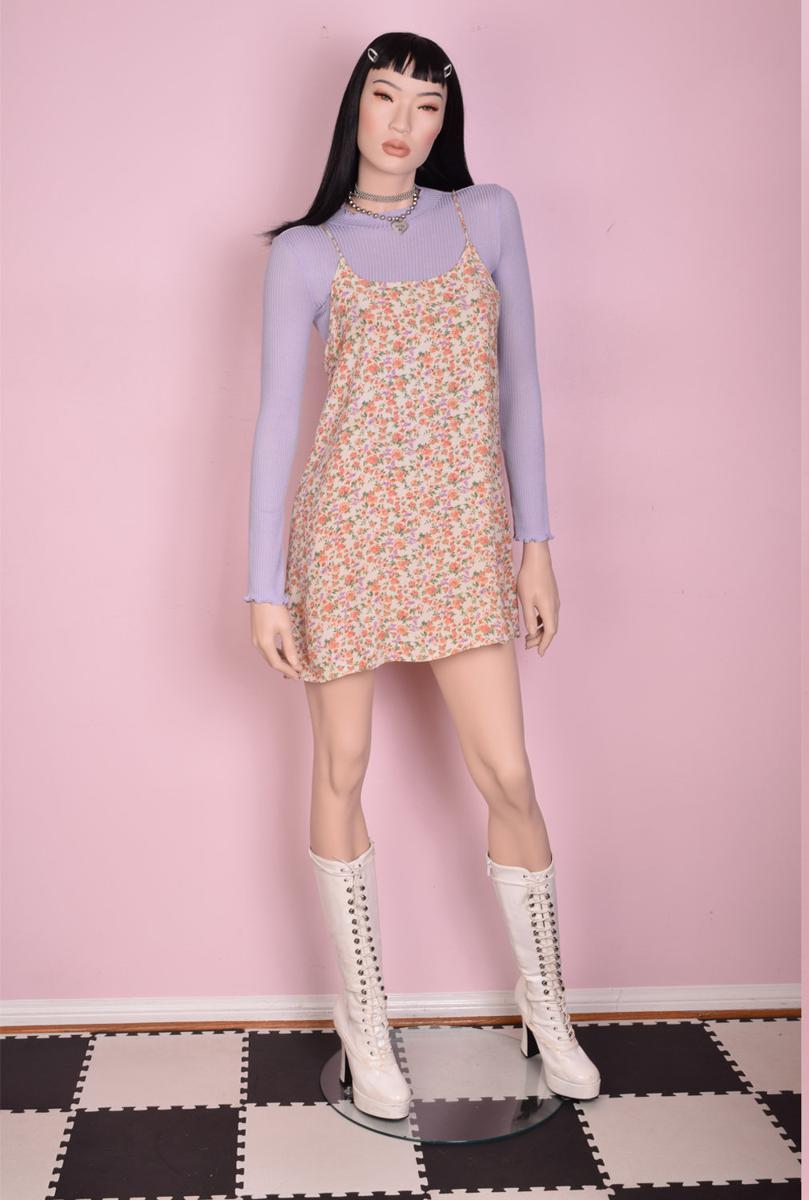90s Floral Print Micro Mini Dress/