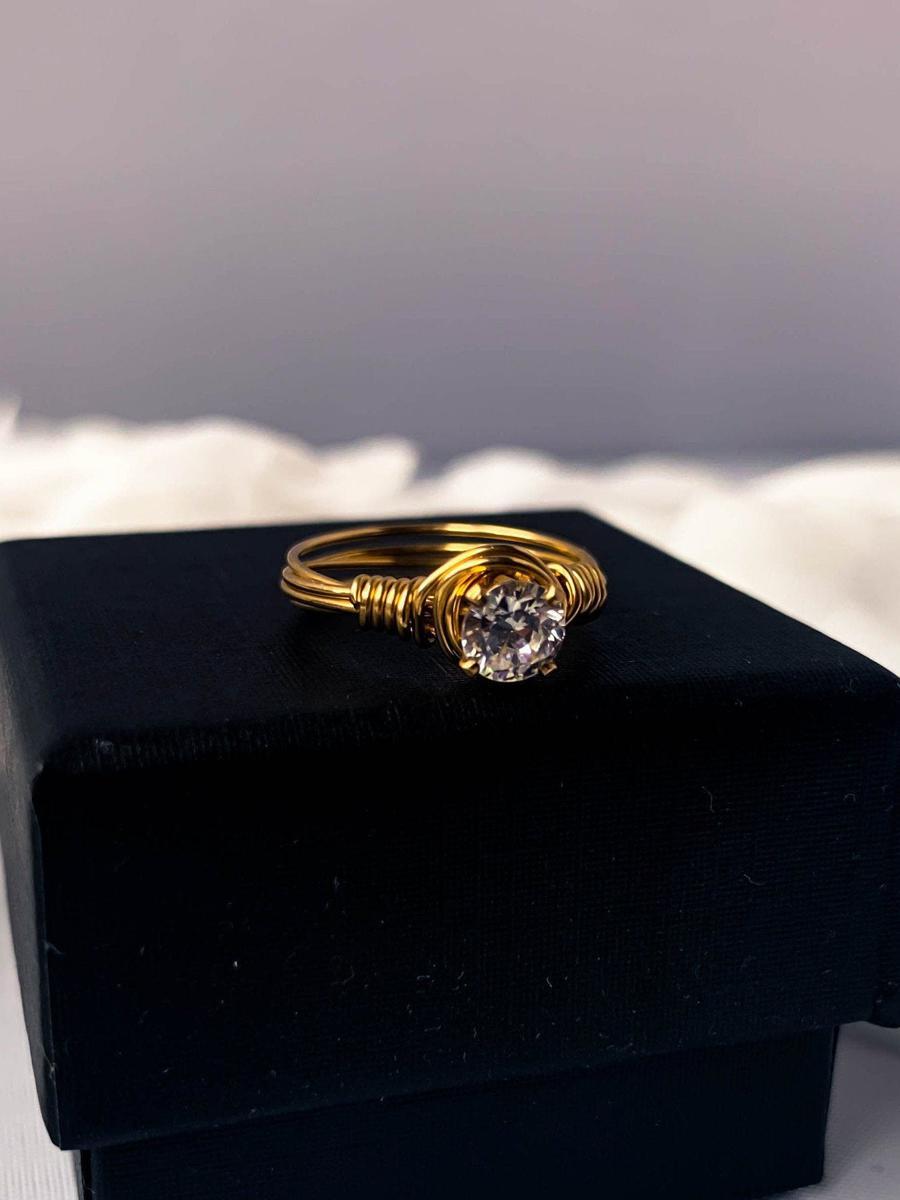 Vintage White Rhinestone Ring, Vintage Gold Ring, Statement Ring
