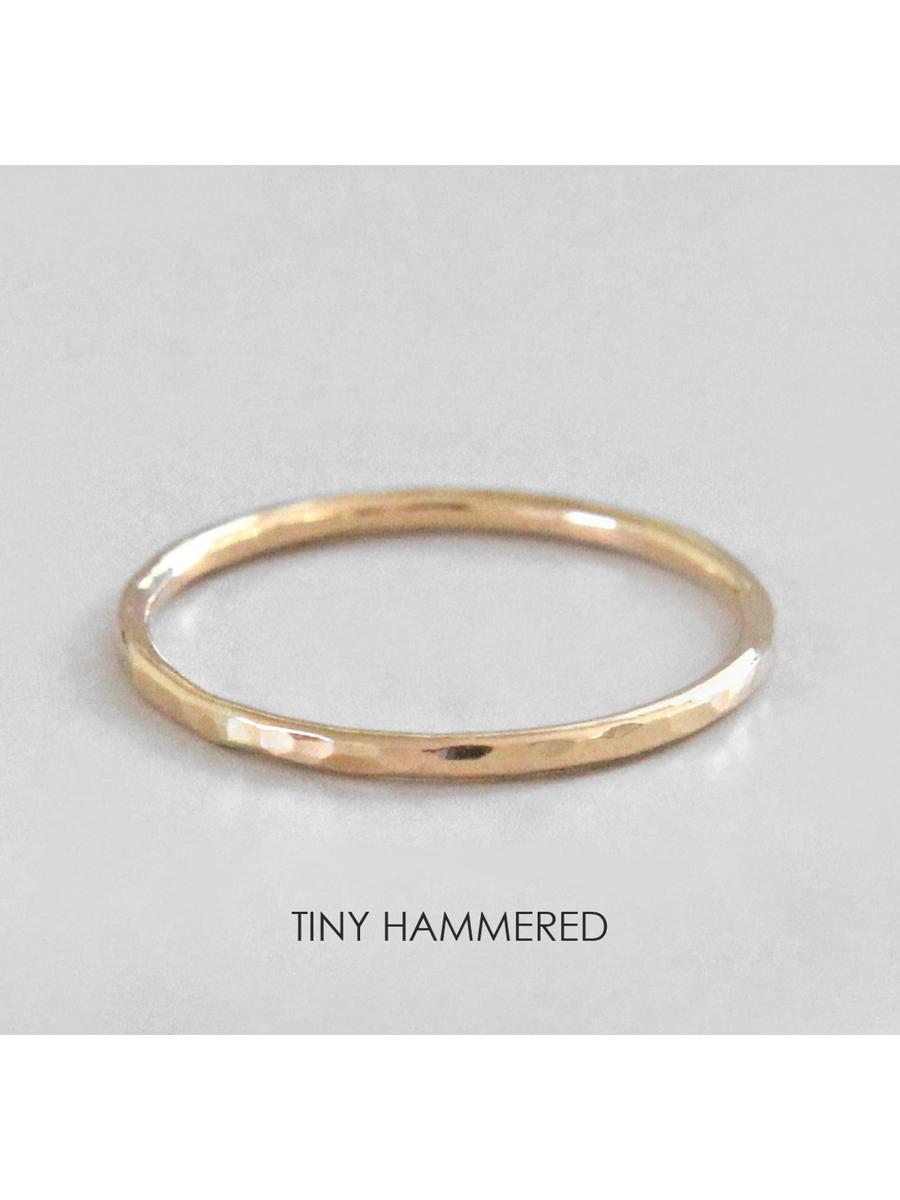 Gold Stacking Ring, Gold Ring, Tiny Hammered Ring, Gold