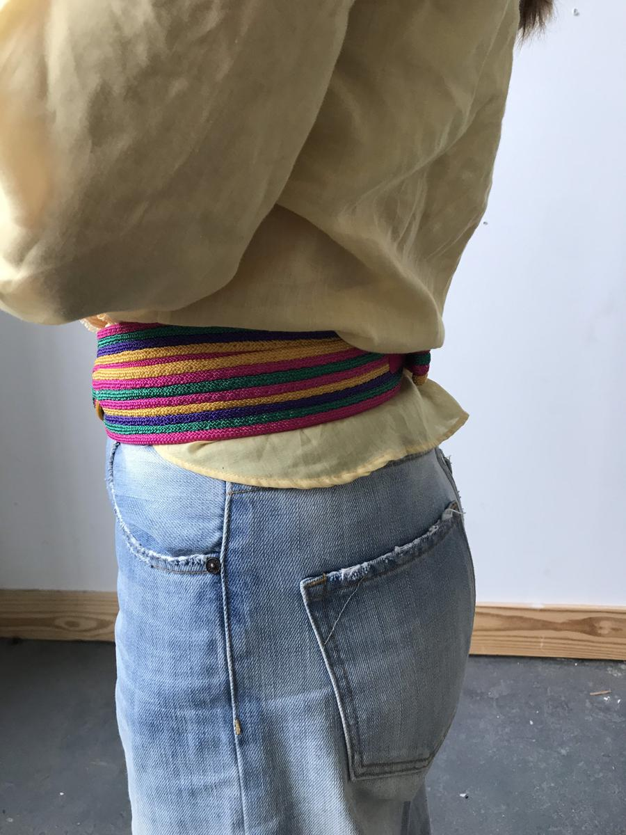 Vintage 80s Rainbow Wide Cord Belt Braided Belt Sash