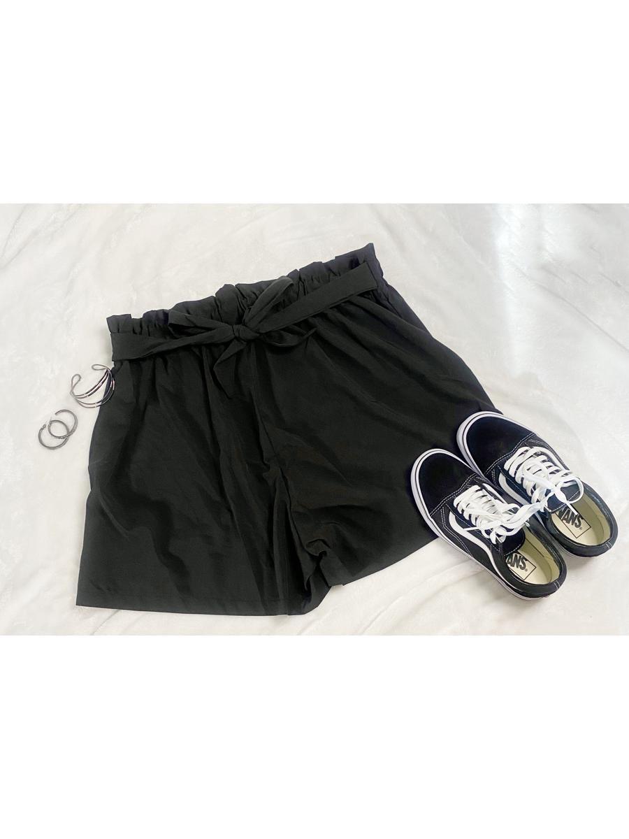 Black Paper Bag Style Shorts