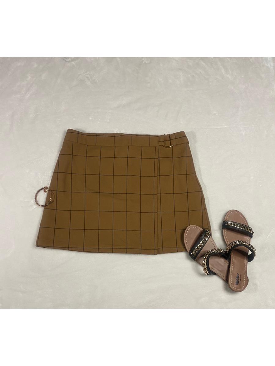 Tan Plaid Mini Skirt