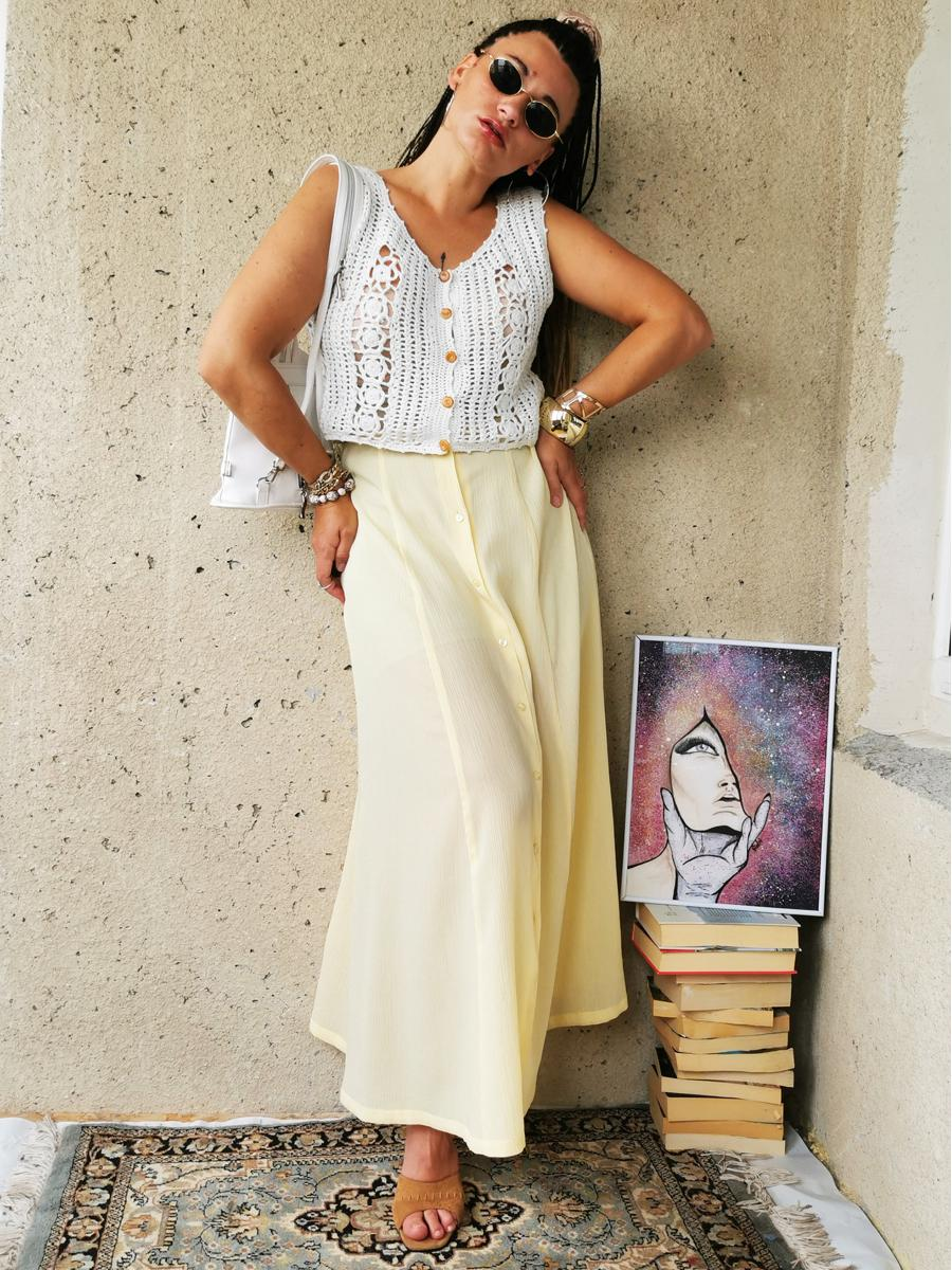Vintage  80s see-through pastel yellow maxi summer skirt