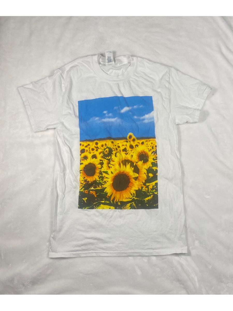 White T-shirt With Sunflower Graphic  - Size S