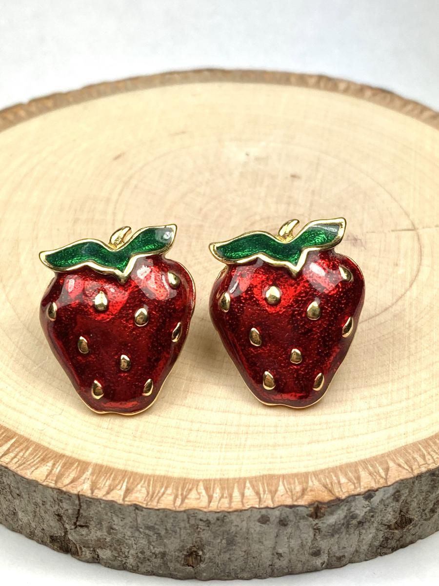 Vintage Strawberry Stud Earrings, Brand New Vintage Jewelry, Glittery