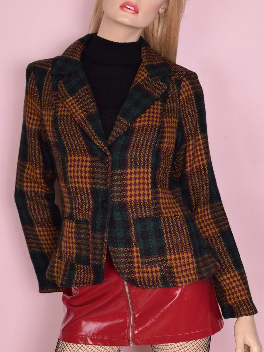 90s Plaid Tweed Blazer/ Medium/ 1990s/
