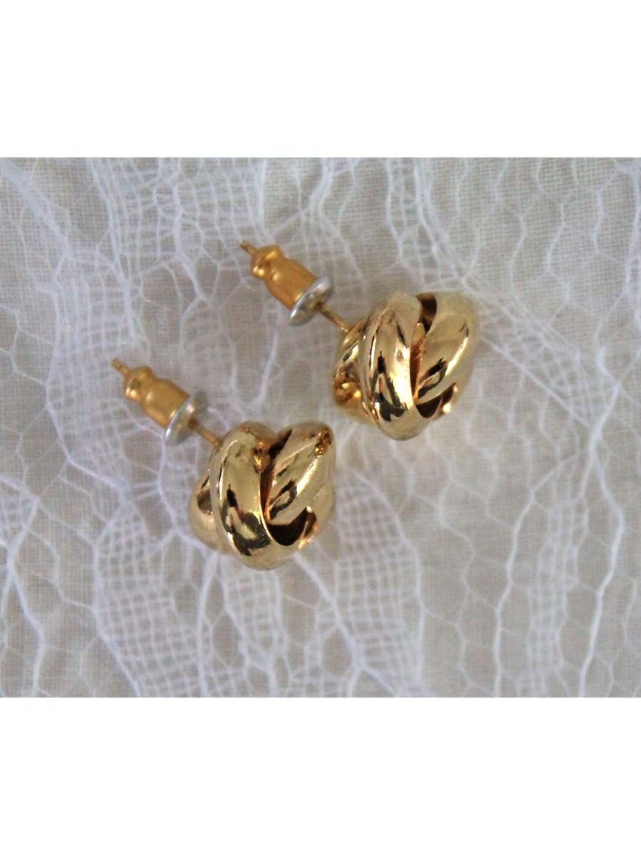 vintage knot earrings, small gold tone post earrings, 0.5