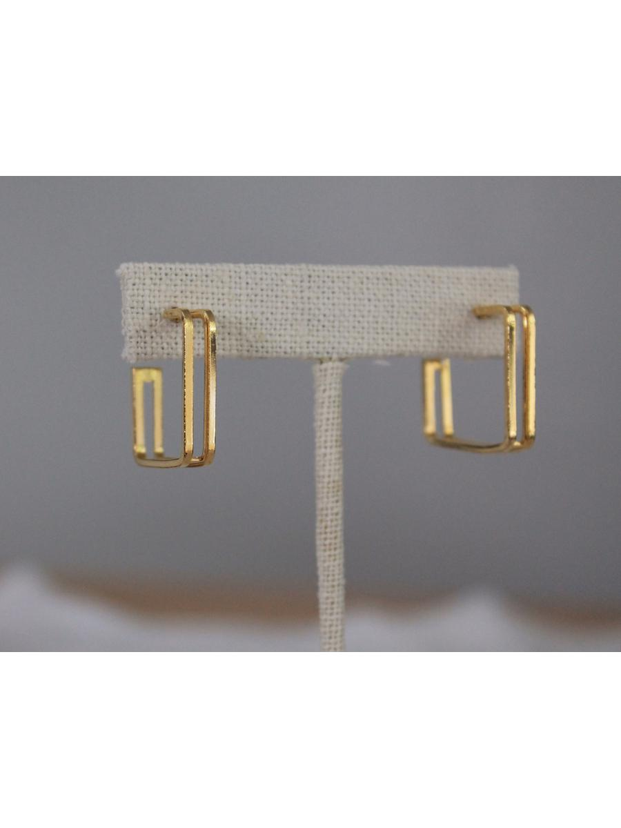 vintage gold tone square hoop earrings, 1970s double hoop