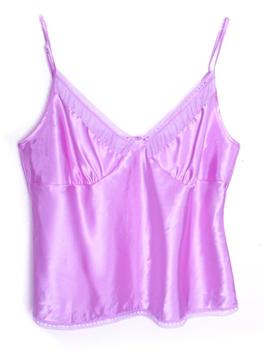 Purple Satin Silky Tank Y2K Top Lace Camisole Satin