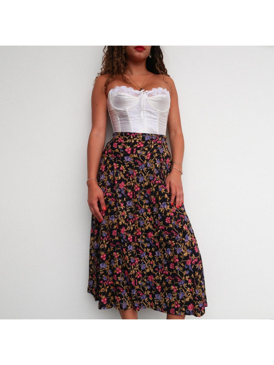 Vintage Noir and Floral Skirt