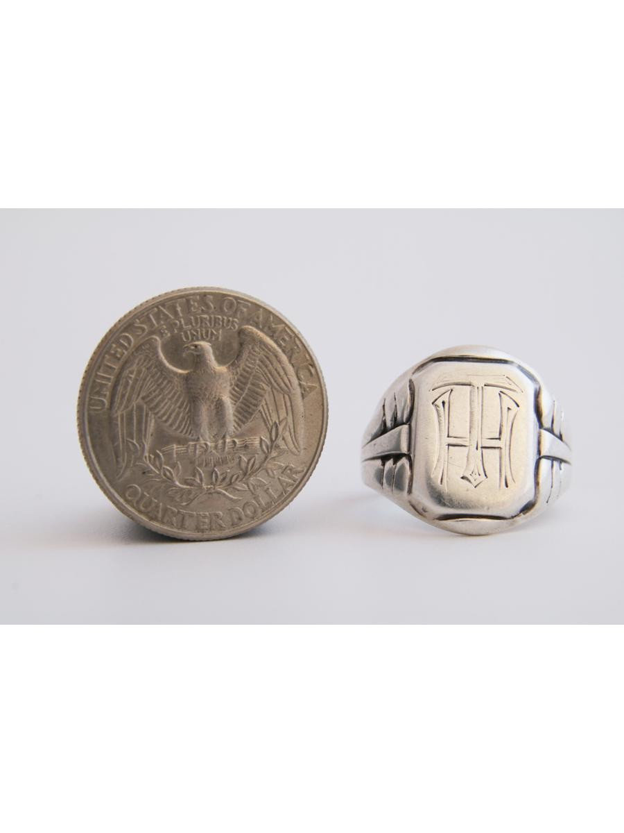 Monogrammed TH Signet Ring, Antique Initials HT Silver Signet