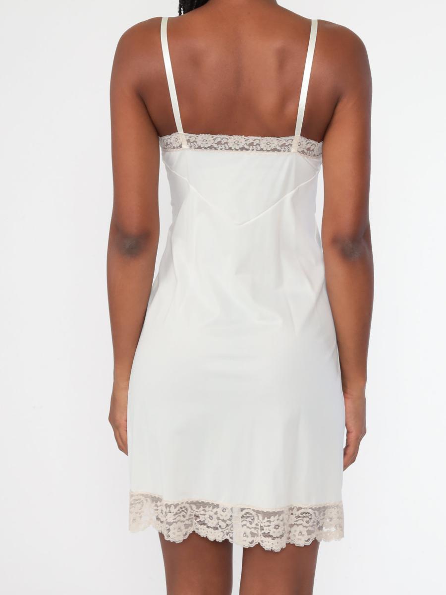 White Slip Dress 32 -- 70s Cream Lace Lingerie
