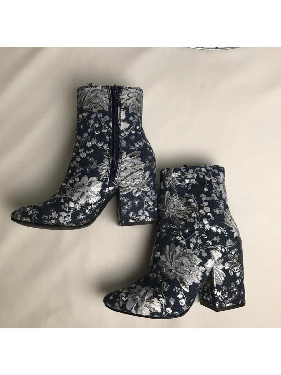 Dark Denim Silver Floral Print Chunky Heeled Booties