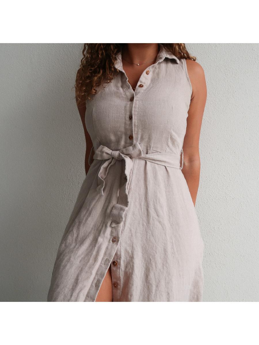 Beige Pure Linen Dress