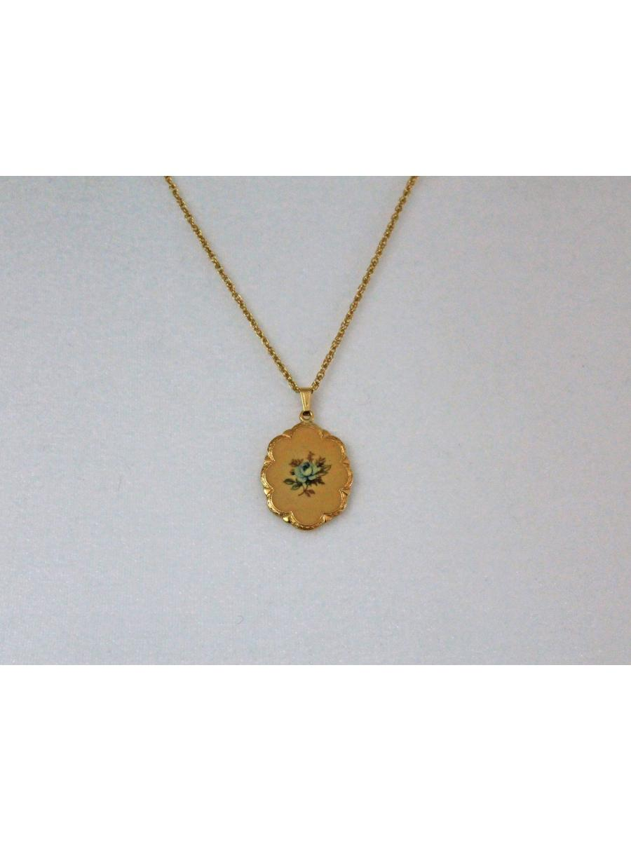 yellow pendant floral necklace, vintage gold tone snake chain