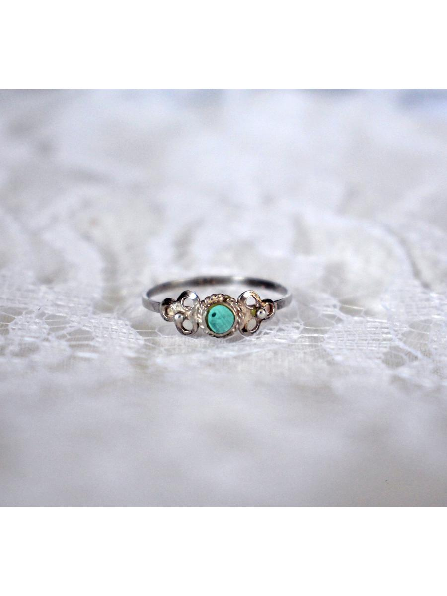 dainty vintage ring, sterling silver turquoise color pinky ring