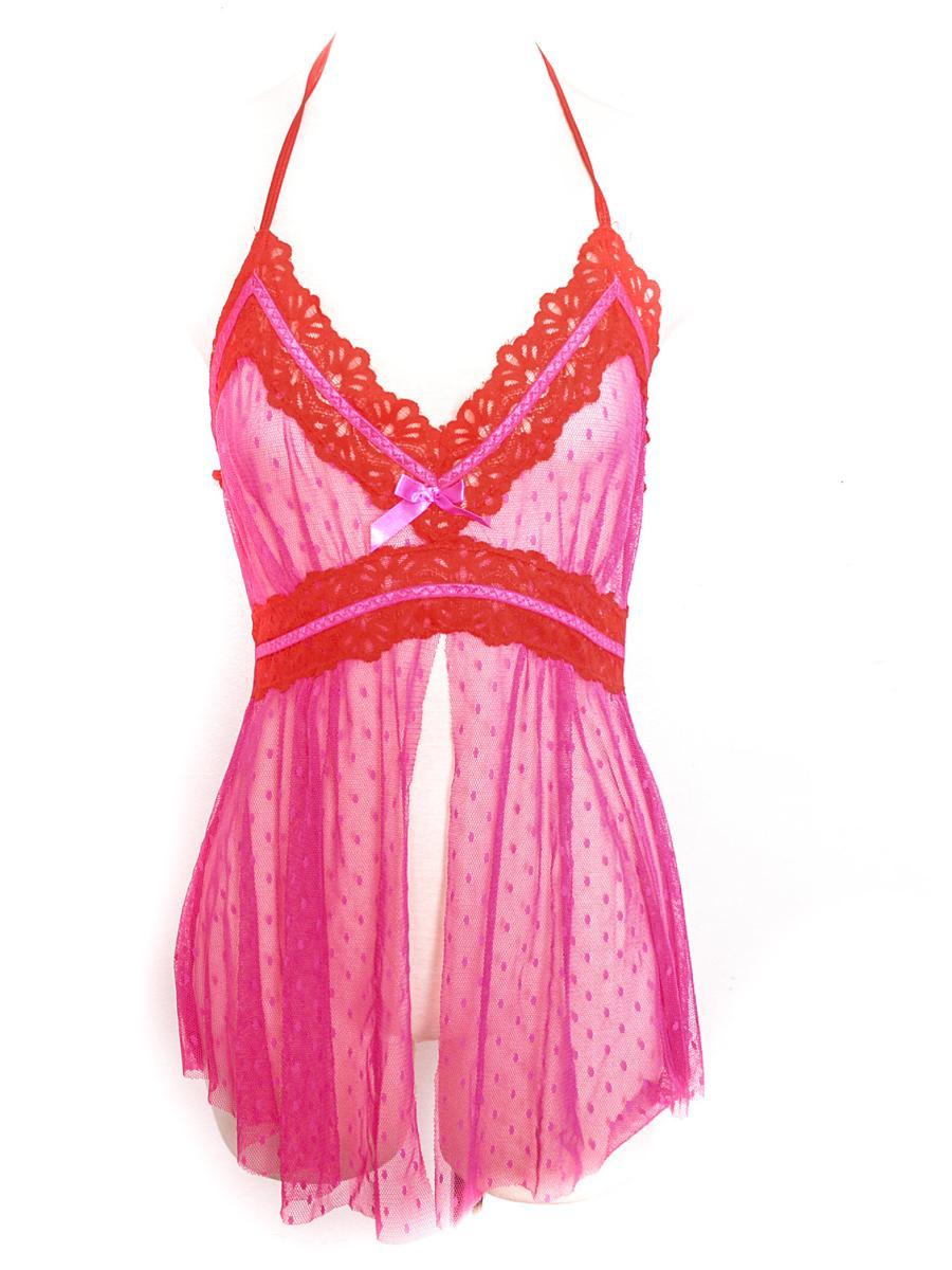 Pink Halter Top Y2K  90's Sheer Lingerie Top