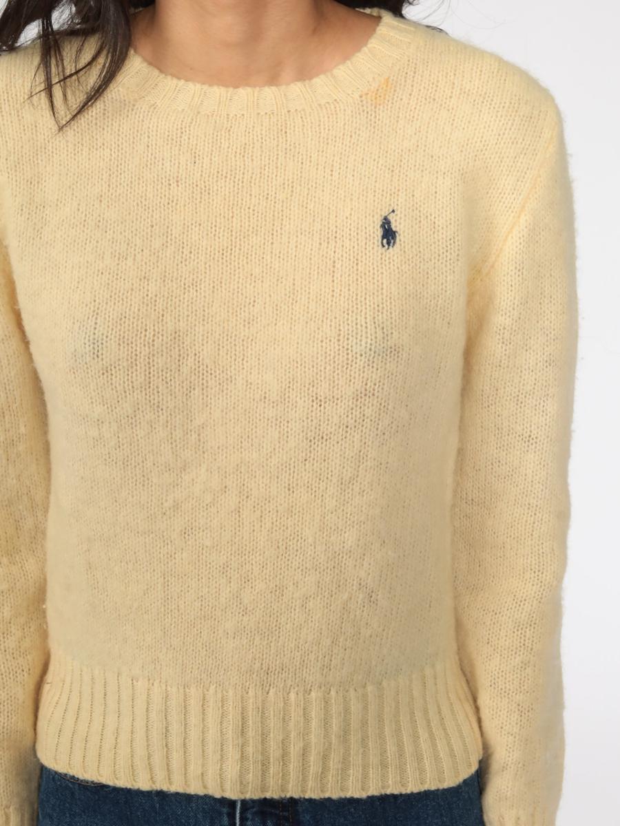 Ralph Lauren Sweater 80s WOOL Sweater Cream Sweater Polo