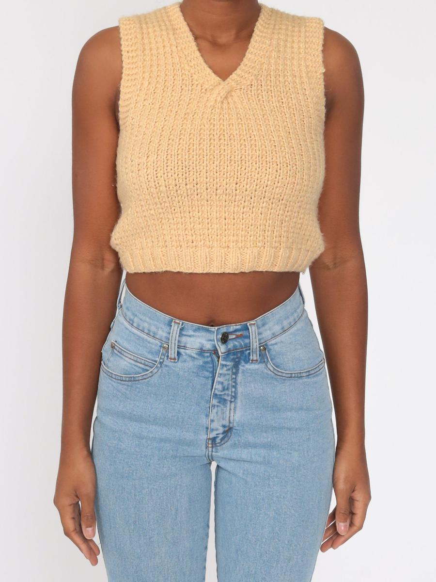Tan Crop Top Sweater Vest Top 70s Knit Tank