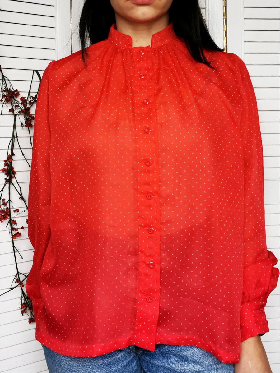 Vintage 80s sheer red polka dot puff sleeve blouse