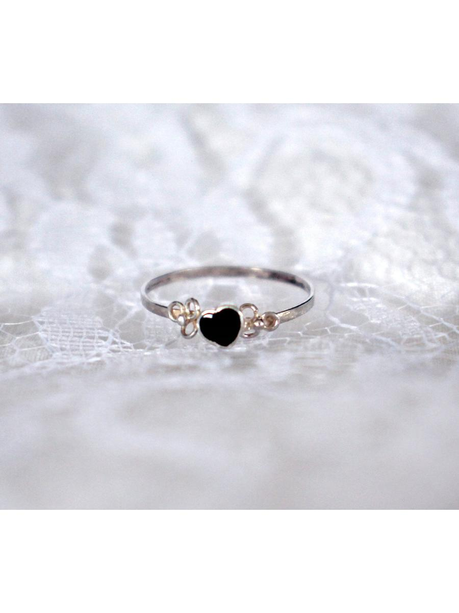 tiny black slanted heart ring, vintage sterling silver dainty