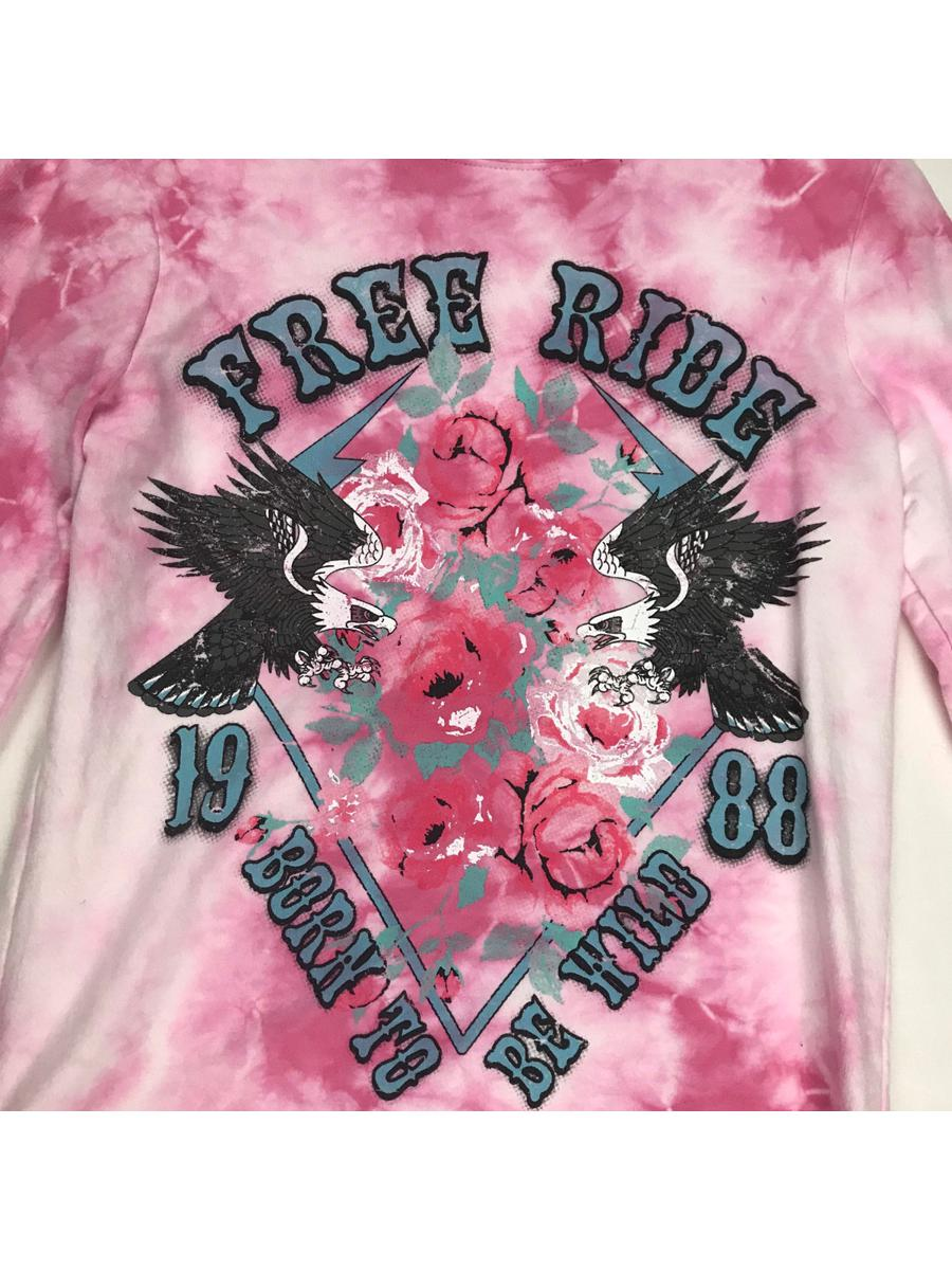 Free Ride Eagle Graphic Pink Tie Dye Long Sleeve