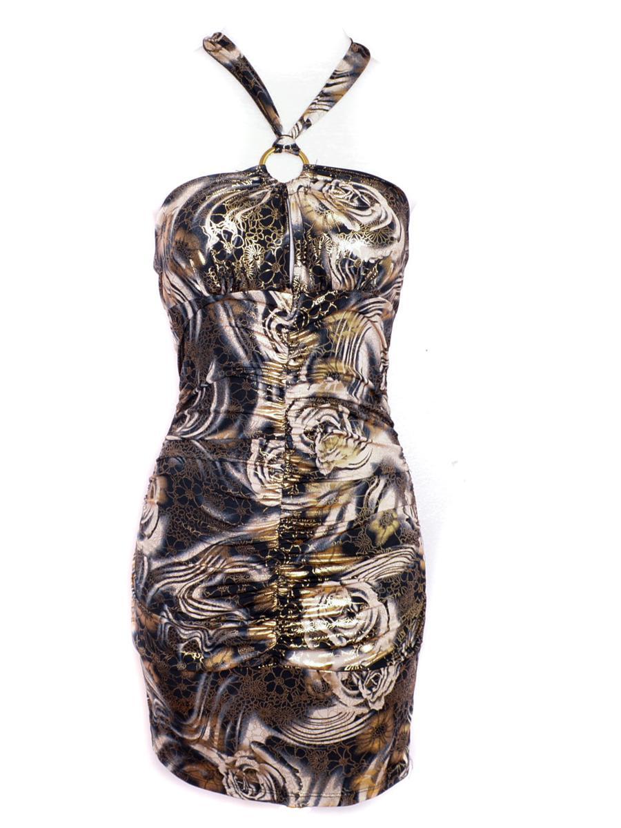 Y2K Black Gold Halter Dress 00's Floral Backless Halter