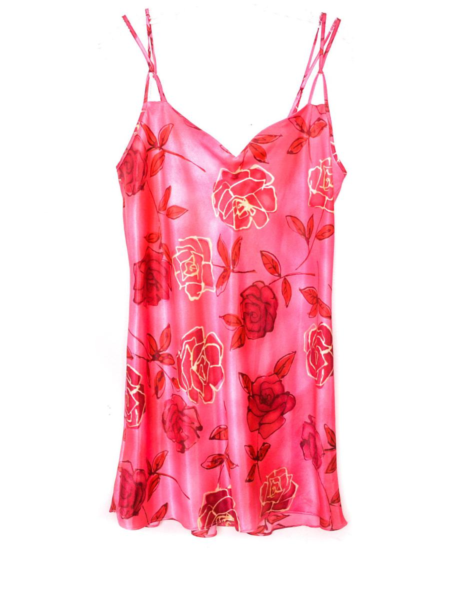 90s Pink Slip Dress Mini Floral Lingerie Rose Satin