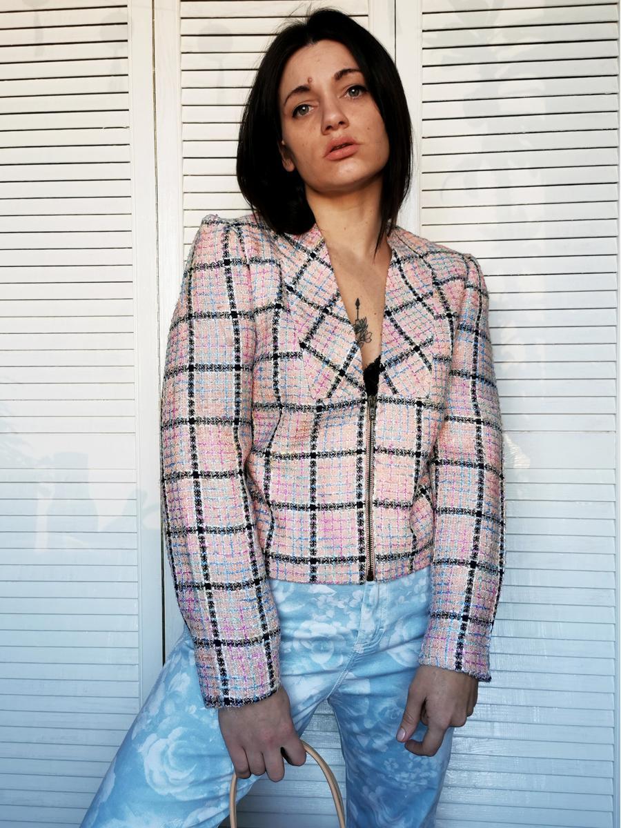 Vintage 90s pastel plaid woven zipped blazer jacket