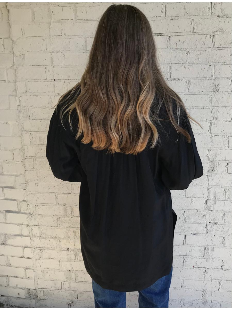 Vintage LizSport Black Long Sleeve Tunic Oversized Blouse |