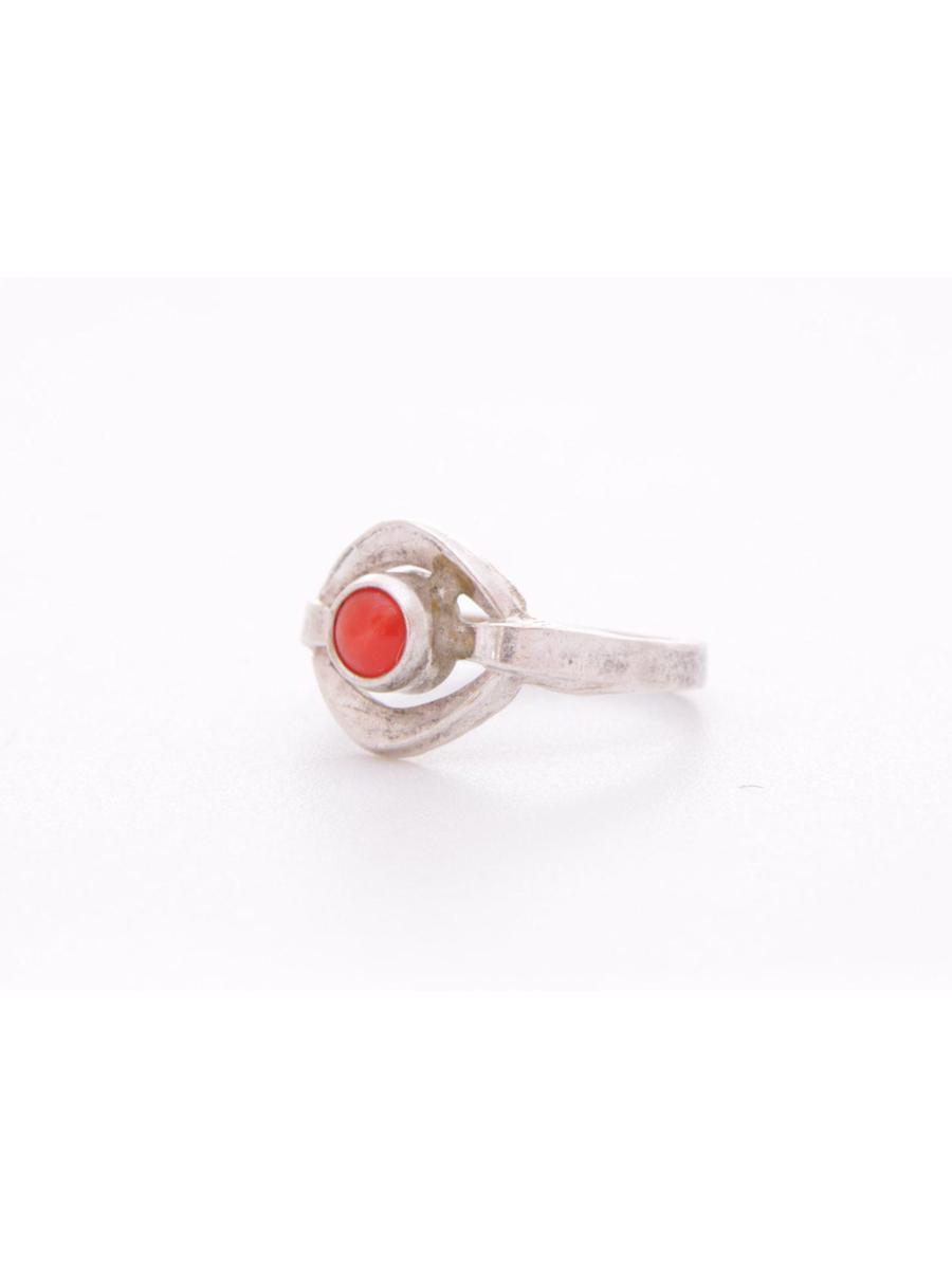 Red coral ring, Vintage Mediterranean red coral ring, Coral