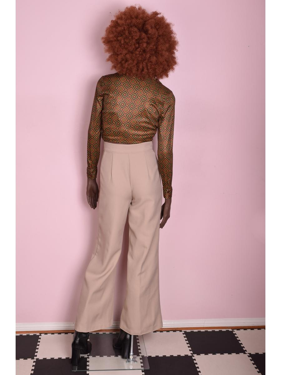 70s Tan Wide Leg Trousers/ Small/