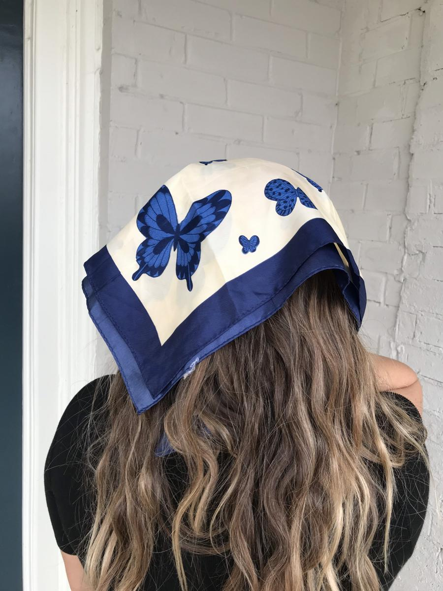 Vintage Cream & Blue Butterfly Square Bandanna Scarf Hair