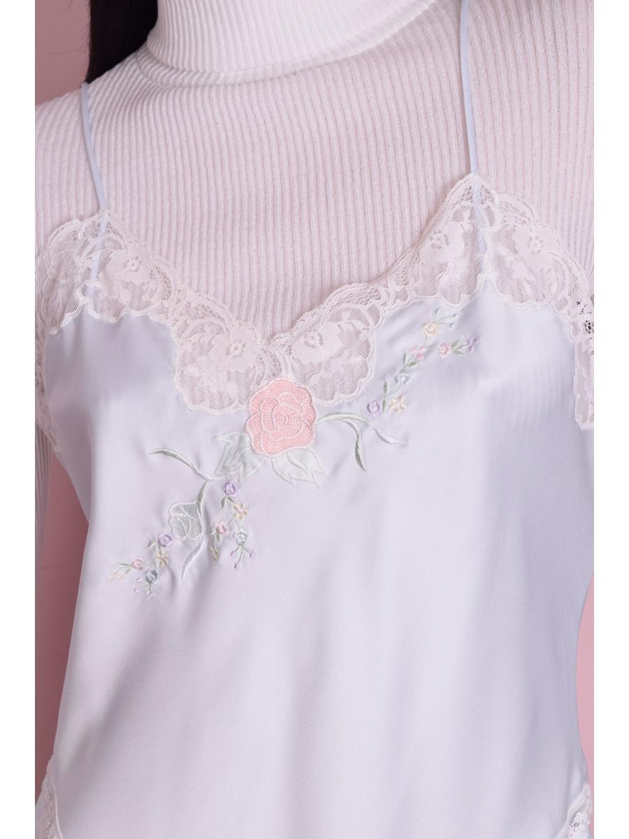 80s Light Blue Floral Embroidered Slip/