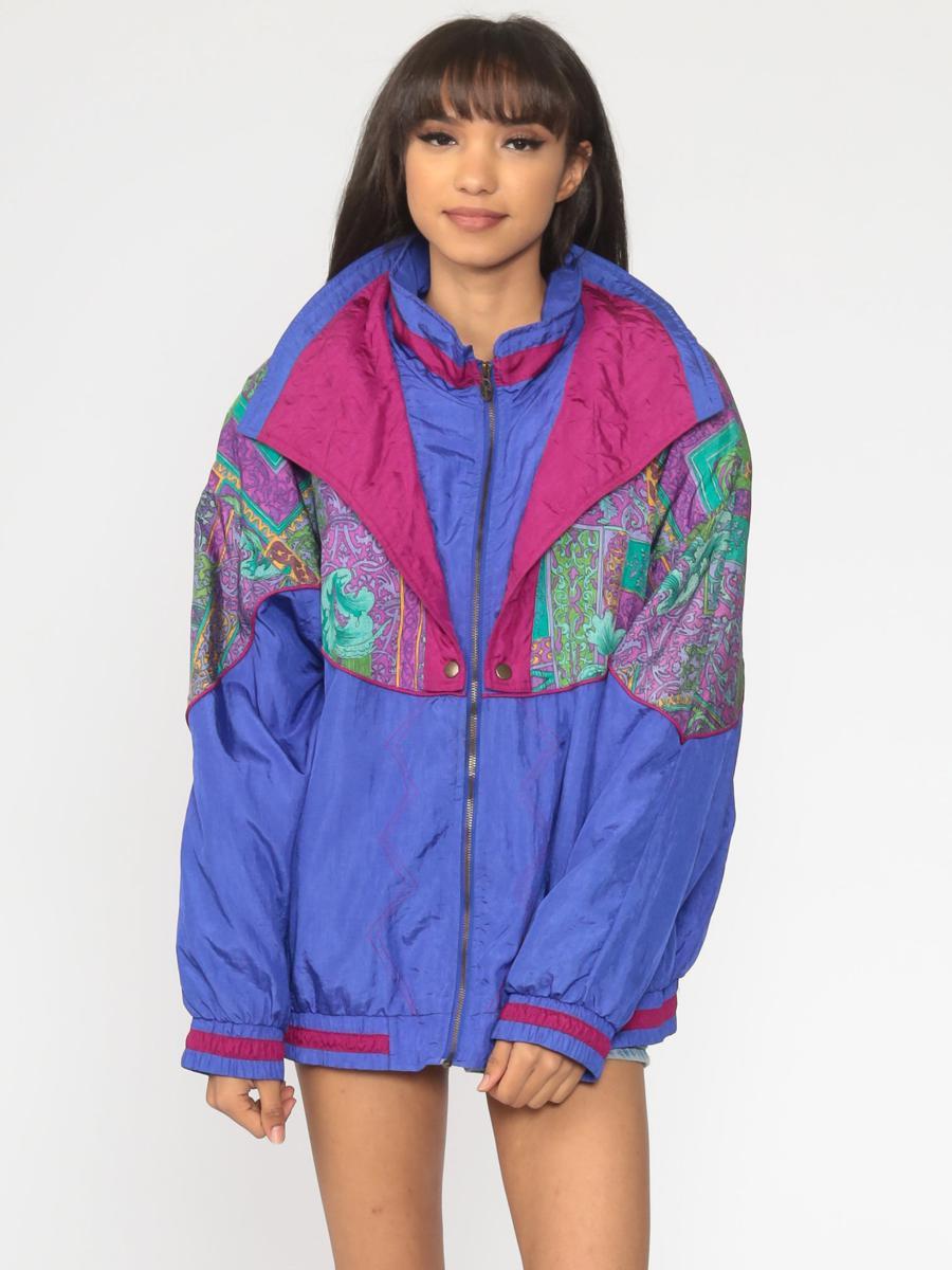 90s Windbreaker Jacket Blue Color Block Print Purple Jacket