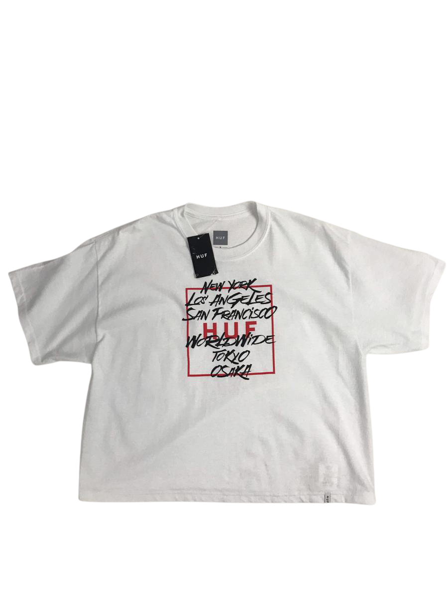 City Names Cropped Short Sleeve White T-Shirt   W