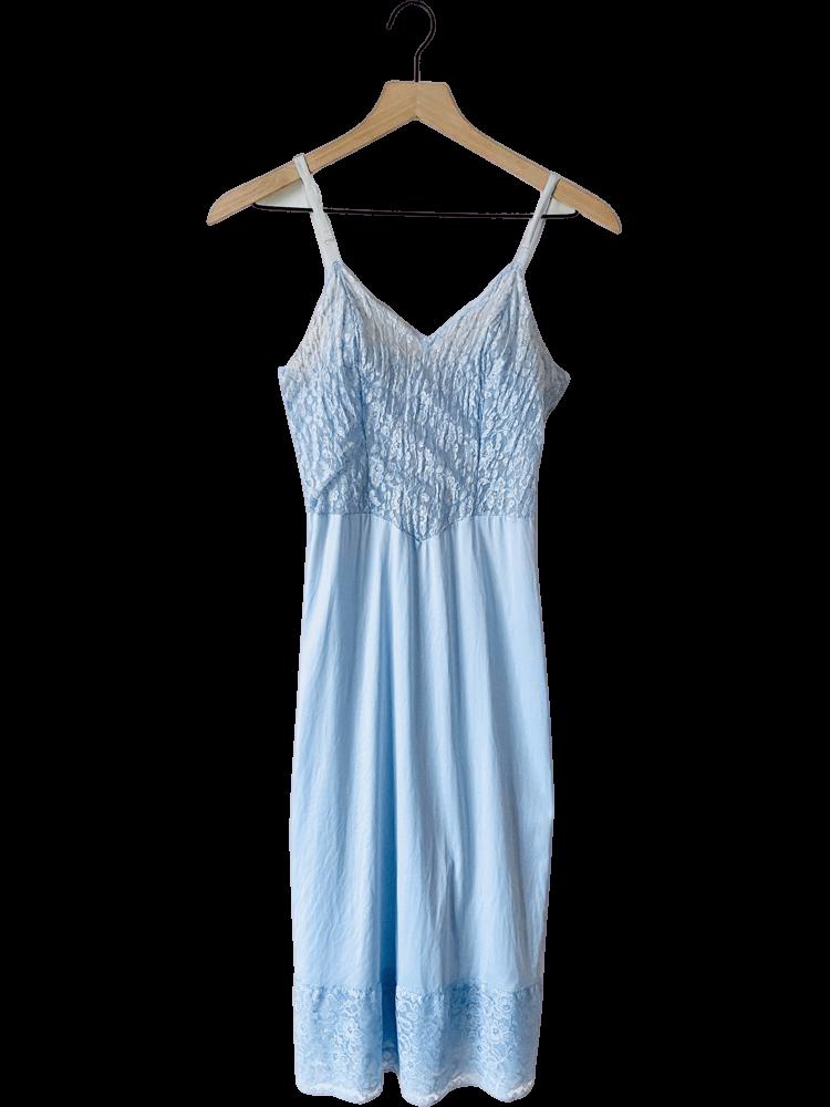70's Cinderella Blue Lace Slip