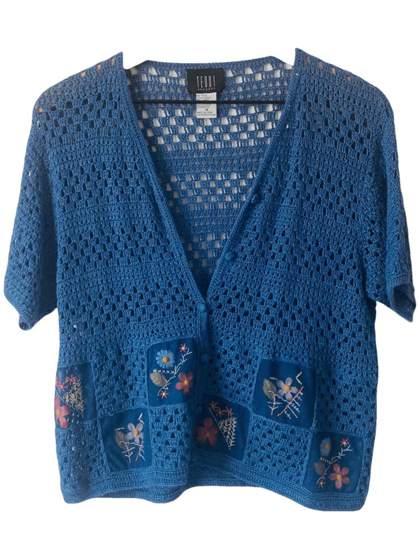 1990s Blue Open Knit Cardigan