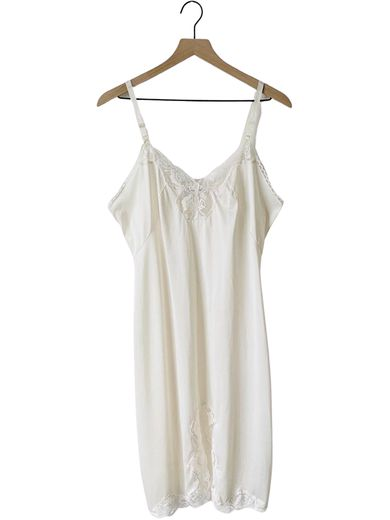 80's Ivory Blush Lace Slip Dress