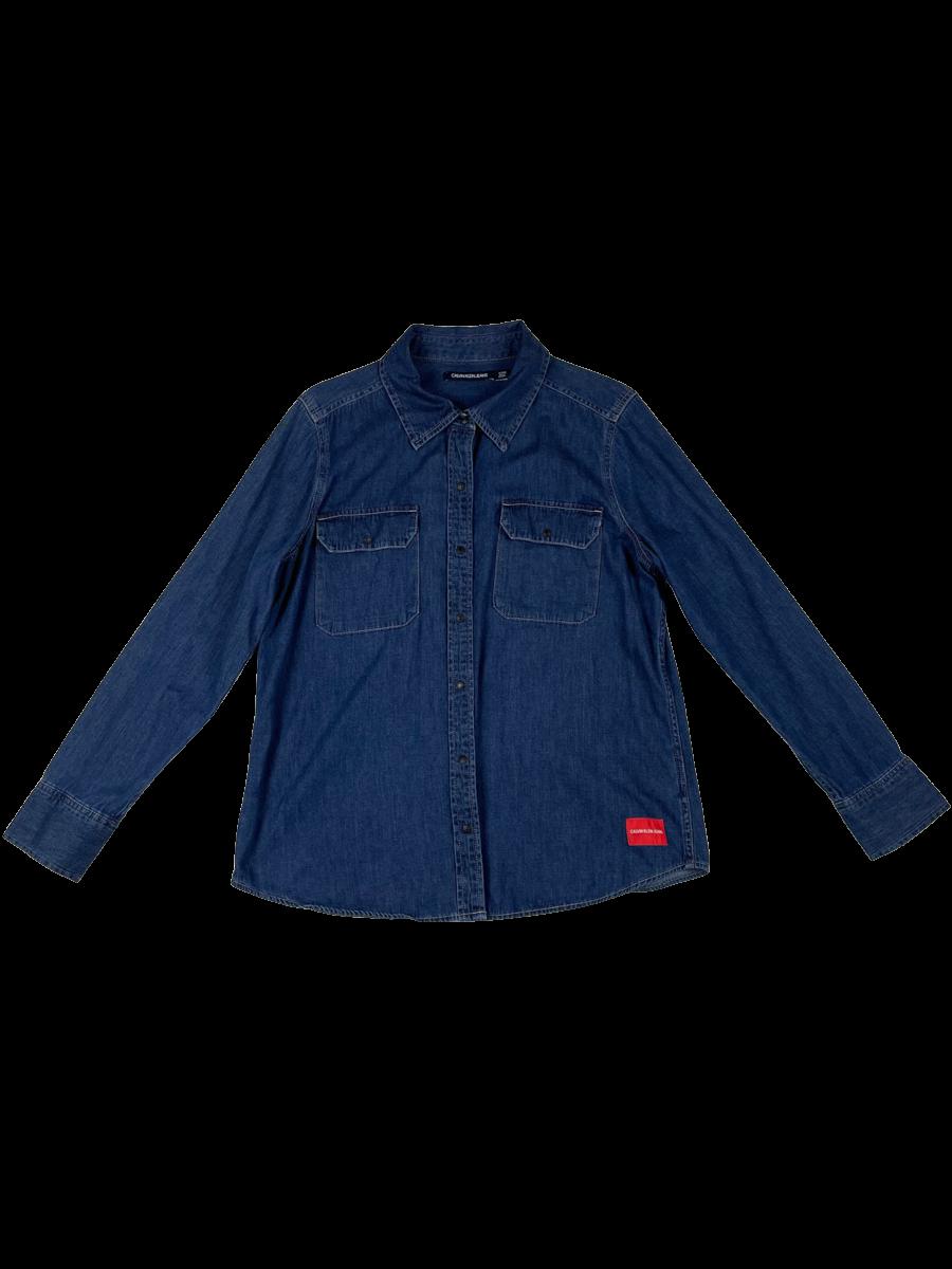 Blue Long Sleeve Jean Button Down Collared Shirt