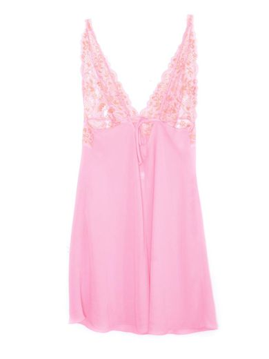 Y2K Pink Slip Dress Mini Floral Lingerie Mesh Slip
