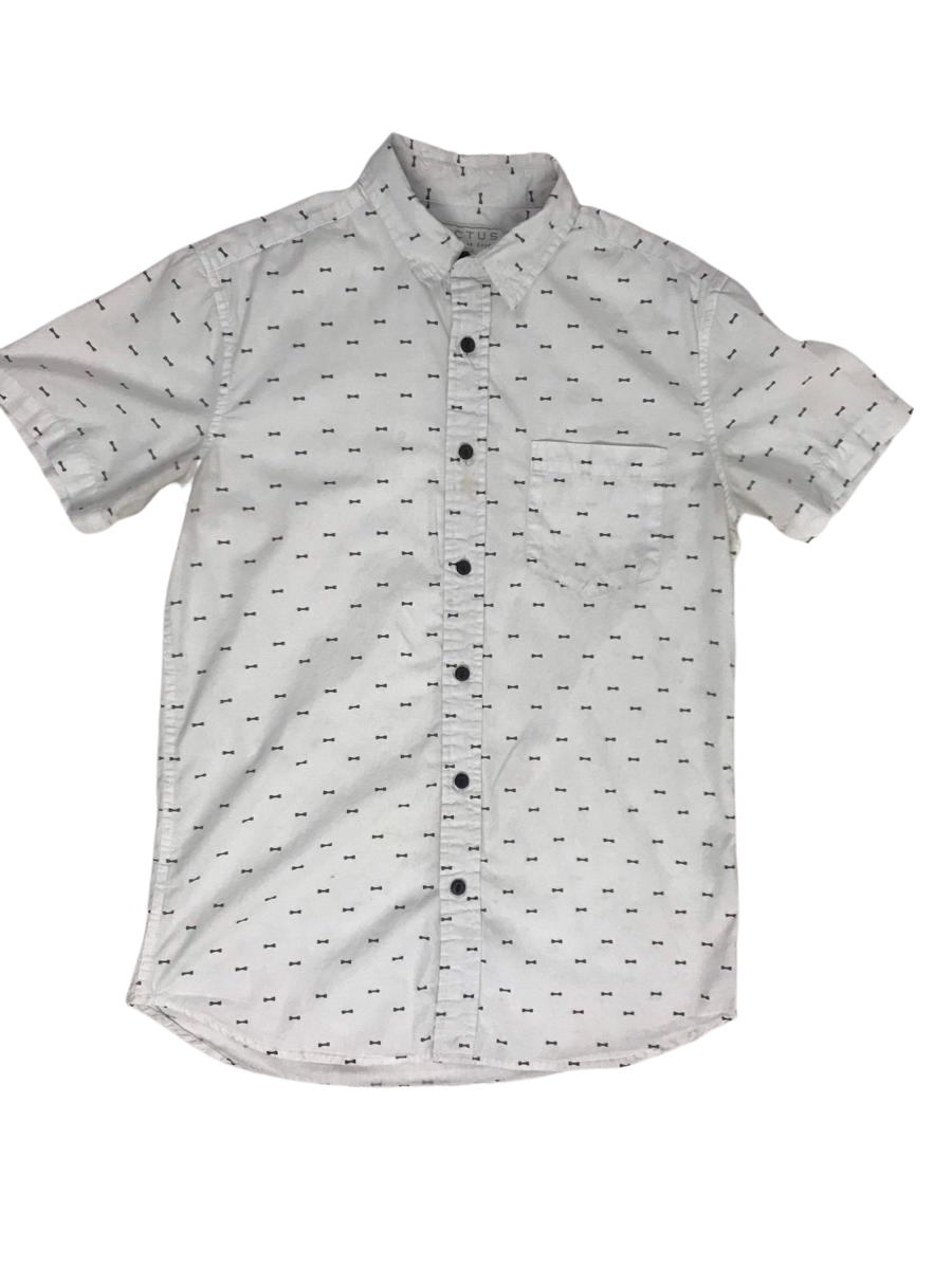Bone Print All Over Short Sleeve Button Down Collared