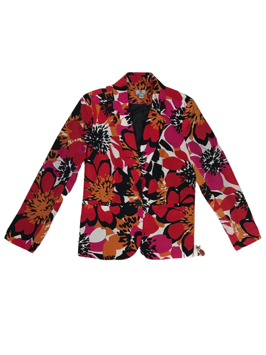 Red, Pink, & Black Floral Print Blazer | Women's