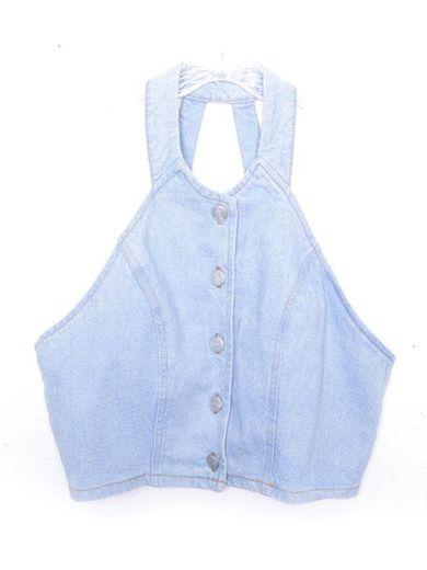 Denim Shirt Crop Top Jean Vest Top 90s Jean