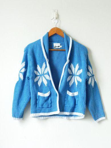 50s Blue Shawl Collar Cardigan - 50s Cardigan -50s